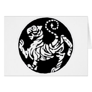 SHOTOKAN TIGER BLACK AND WHITE GREETING CARDS