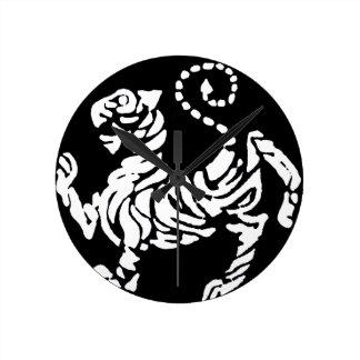 SHOTOKAN TIGER BLACK AND WHITE CLOCKS