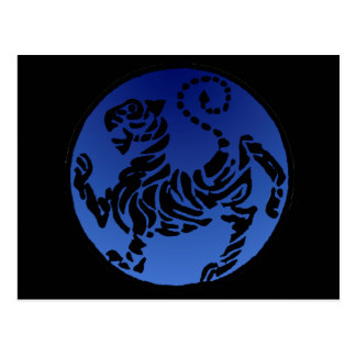 Shotokan Tiger Black & Blue Post Card