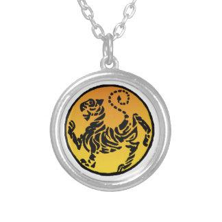 Shotokan Tiger - Gold Round Pendant Necklace