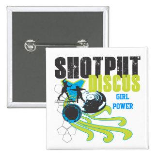 Shotput y disco - botón de encendido del chica pin cuadrado