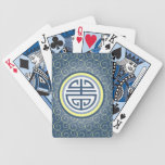 Shou Chinese Longevity Symbol • Blue and Yellow Bicycle Playing Cards