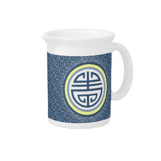 Shou Chinese Longevity Symbol • Blue and Yellow Drink Pitcher