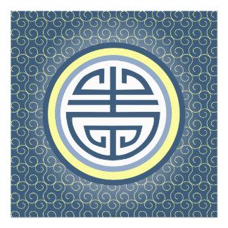 Shou Chinese Longevity Symbol • Blue and Yellow Photo Print