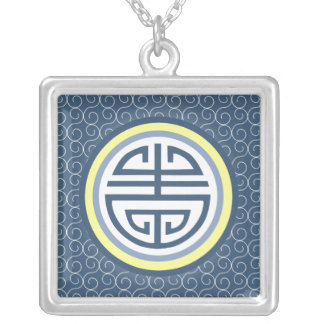 Shou Chinese Longevity Symbol • Blue and Yellow Silver Plated Necklace