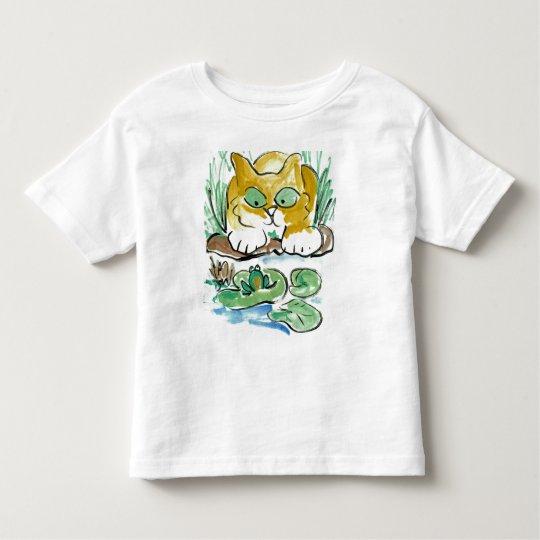 Should I? kitten eyes a frog Toddler T-shirt