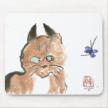 Should I?  kitty and butterfly, Sumi-e Mousepads