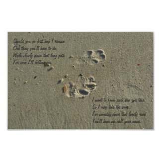Should you go first, dog paw prints in sand Poster