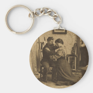 Shoulder Arms Antique Grayscale Vintage Stereoview Basic Round Button Keychain