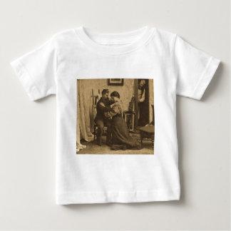 Shoulder Arms Antique Grayscale Vintage Stereoview Infant T-shirt