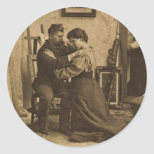 Shoulder Arms Antique Grayscale Vintage Stereoview Classic Round Sticker