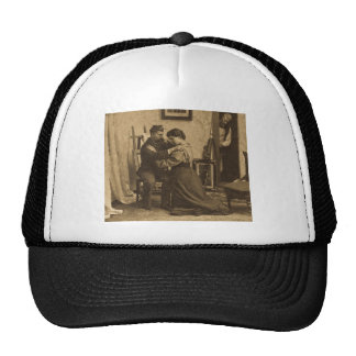 Shoulder Arms Antique Grayscale Vintage Stereoview Trucker Hat