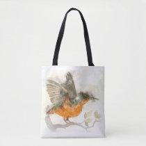 Shoulder Bag with Watercolor Bird Image