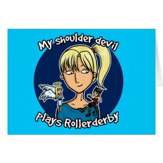 Shoulder devil plays rollerderby card