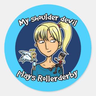 Shoulder devil plays rollerderby classic round sticker