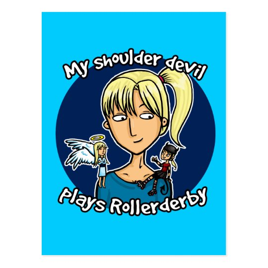 Shoulder devil plays rollerderby postcard