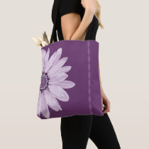 Shoulder Purple Daisy and Lace Stripe Tote Bag
