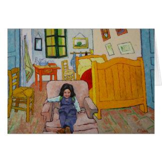 Shounie en el dormitorio de Van Gogh Tarjeta De Felicitación
