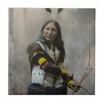 "Shout At Oglala Sioux 1899 Indian Ceramic Tile<br><div class=""desc"">Shout At,  Oglala Sioux. Copyright 1899 by Herman Heyn of Heyn Photo,  Omaha,  Nebraska. No. 423.</div>"