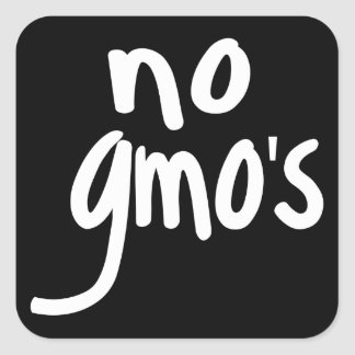 Shout No GMO's Protect our Food Black Square Sticker