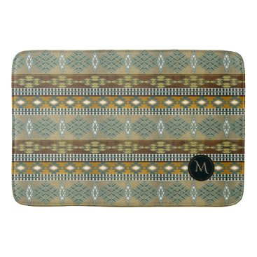 Aztec Themed Shouthwestrn ethnic navajo tribal pattern monogram bathroom mat