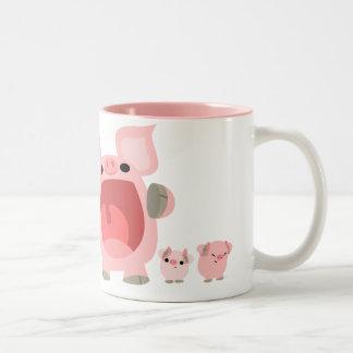 Shouting Cartoon Pigs Mug:) Two-Tone Coffee Mug