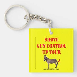 SHOVE GUN CONTROL KEYCHAIN
