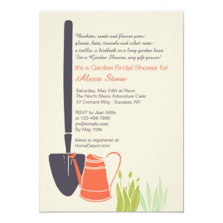 "Shovel and Watering Can Bridal Shower Invitation 5"" X 7"" Invitation Card"