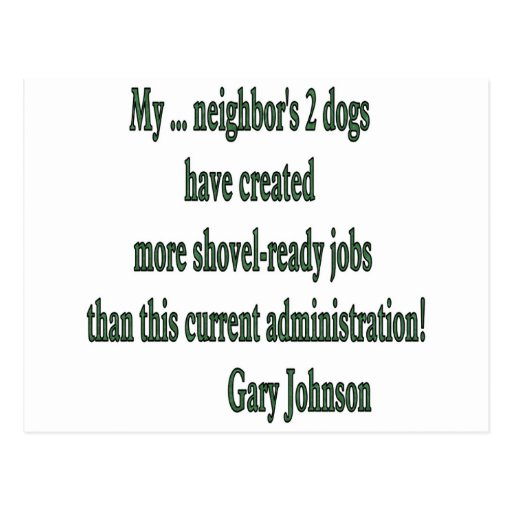 Shovel-ready Jobs Quote Postcards