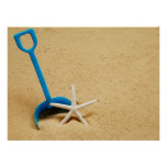 Shovel & Starfish Beach Fun Poster