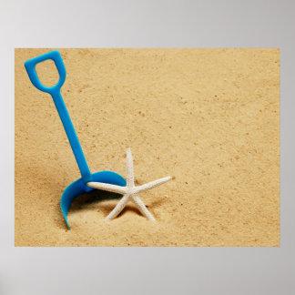 Shovel Starfish Beach Fun Poster