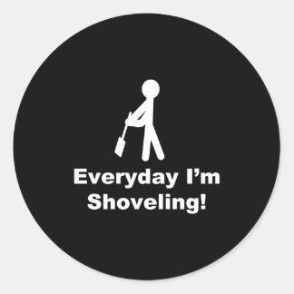 Shoveling Everyday Round Stickers