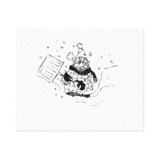 Shoveling Snow Canvas Prints