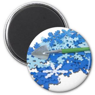 ShovelingSnow110510 2 Inch Round Magnet