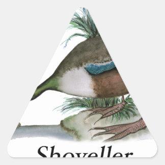 Shoveller duck, tony fernandes triangle sticker