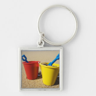 Shovels And Pails On Sandy Beach Keychain