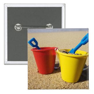 Shovels And Pails On Sandy Beach Pinback Button