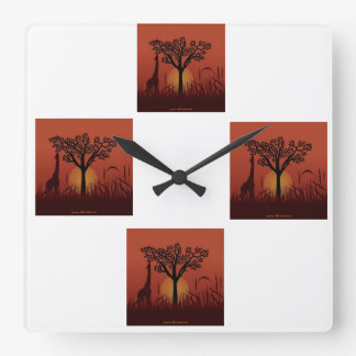 Show Africa Square Wall Clocks
