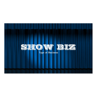 Show Biz Blue - White Text Double-Sided Standard Business Cards (Pack Of 100)