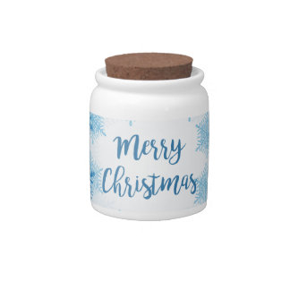 SHOW FLAKES PATTERN Merry Christmas Candy Jars