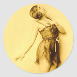 Show Girl Risque French Dancer Classic Round Sticker