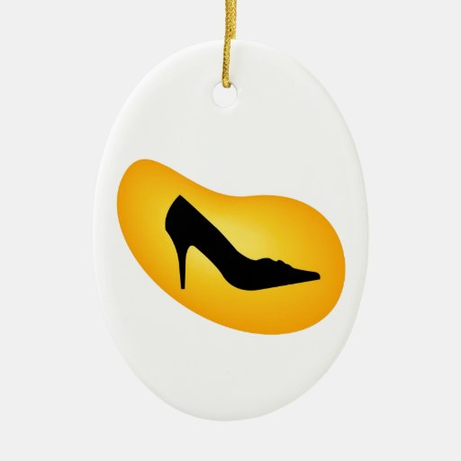 Show in a yellow droplet Double-Sided oval ceramic christmas ornament