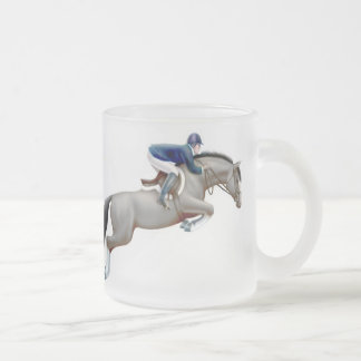 Show Jumper Gray Horse Frosted Mug