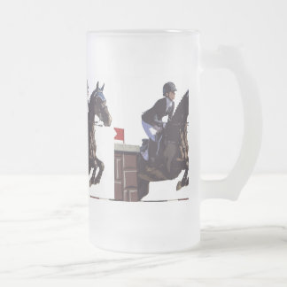 Show Jumping Frosted Glass Beer Mug
