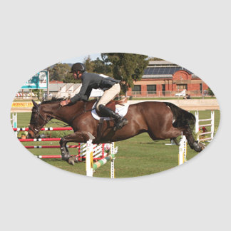 Show jumping horse and rider 2 oval sticker