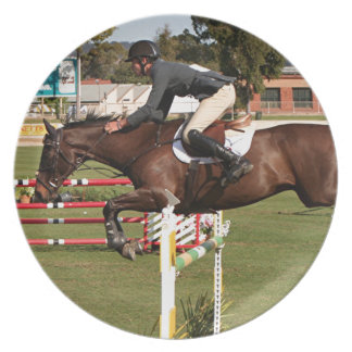 Show jumping horse and rider 2 party plates