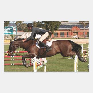 Show jumping horse and rider 2 rectangular sticker