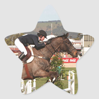Show jumping horse and rider star sticker