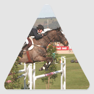 Show jumping horse and rider triangle sticker
