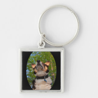Show Me Intrigue Silver-Colored Square Keychain